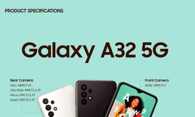 گلکسی A32 5G رونمایی شد: ارزان ترین گوشی ۵G سامسونگ